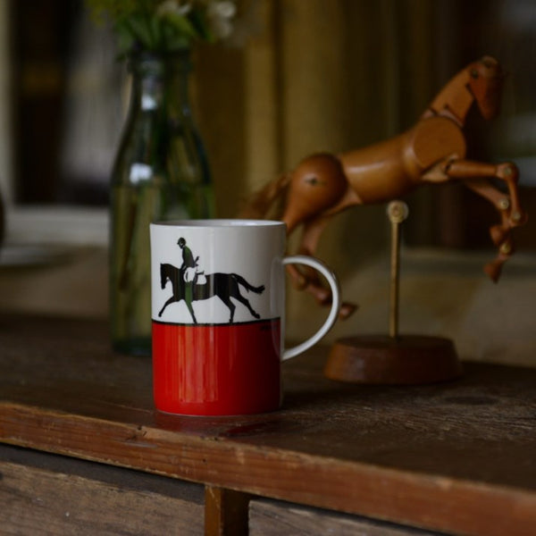 Bone China Red Showjumping Mug
