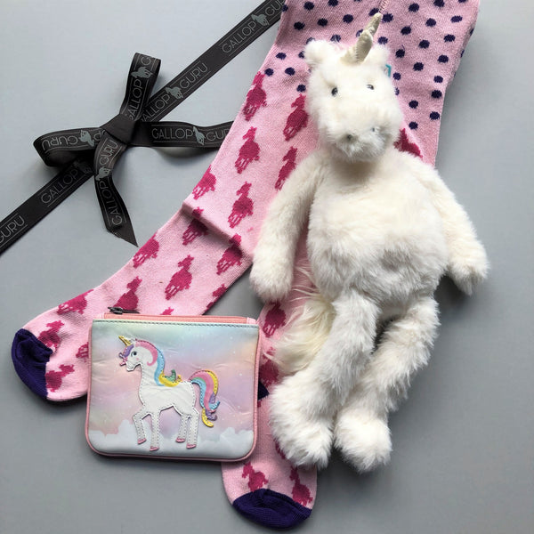 Gift box with unicorn jellycat cuddly toy, pink horse tights and unicorn zip top purse