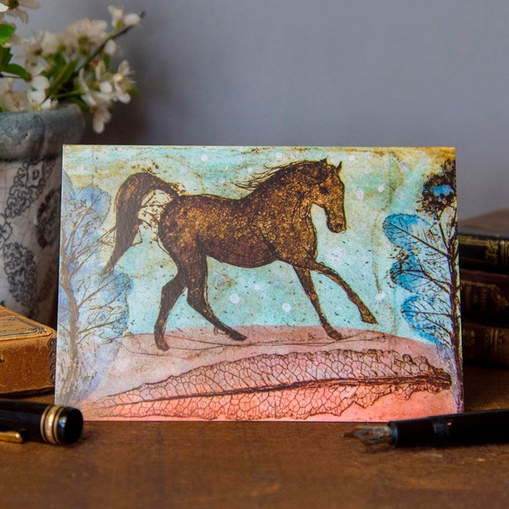 Red Leaf Gallop Horse Card