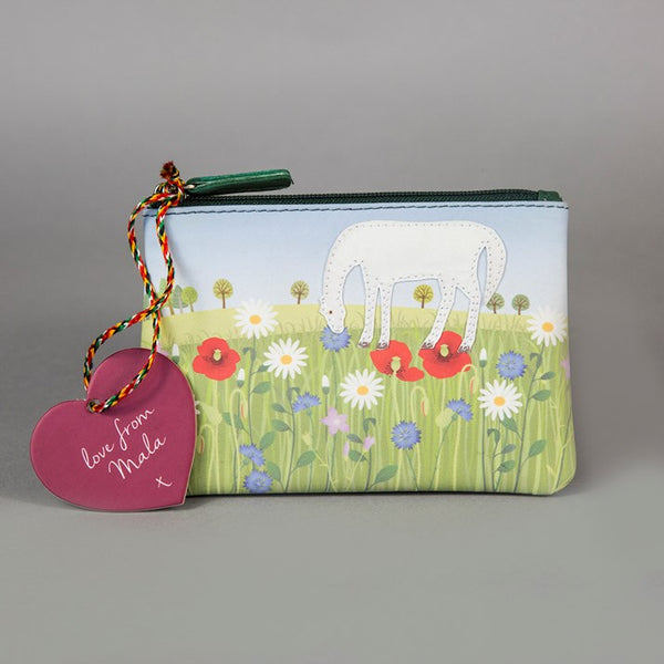 'Summer Meadow Pony' Genuine Leather Zip Purse