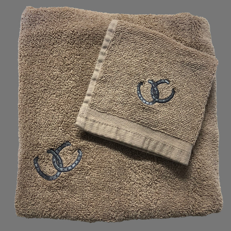 Mocha Horseshoe His and Hers Bath Towel Set with interlinked horseshoe emblem