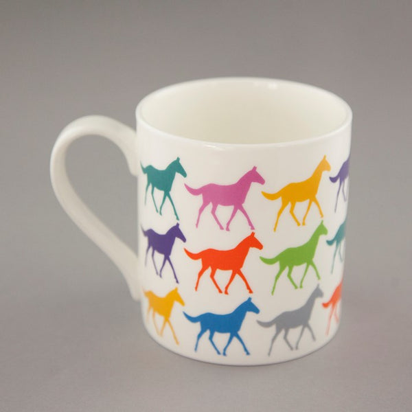 Fine Bone China Multi Horses Mug