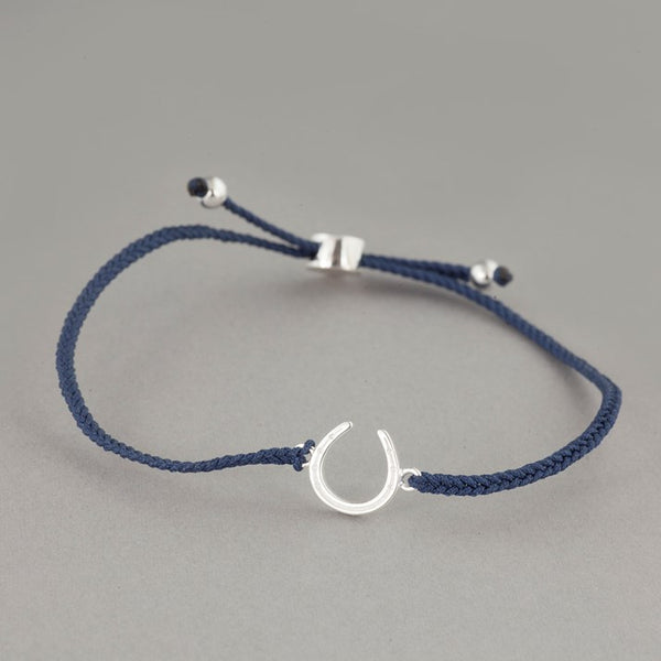 Sterling Silver Horseshoe Navy Friendship Bracelet