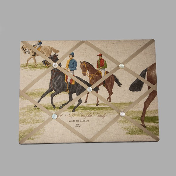 Linen noticeboard in beige with horse print background and ribbon held on by buttons