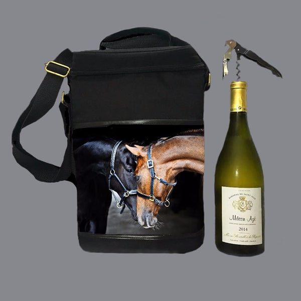 Old Friends Insulated Wine Bag with wine bottle and stopper