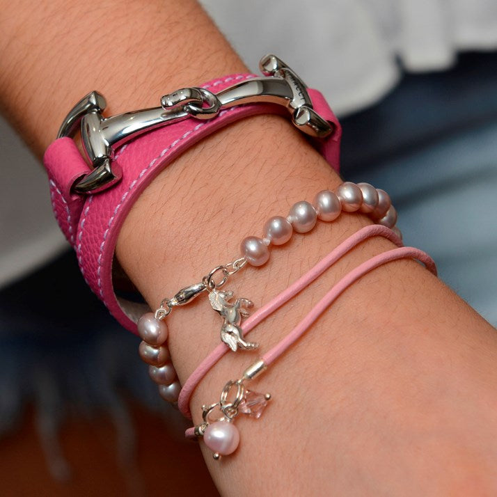 Sterling Silver Horse and Pink Pearl Bracelet