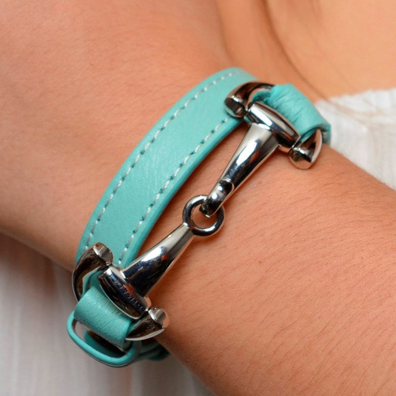 Dimacci Turquoise Leather & Steel Snaffle Bracelet