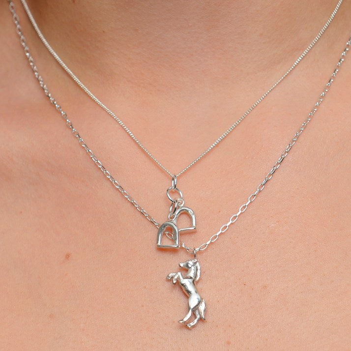Solid Silver Stirrup Charm Pendant