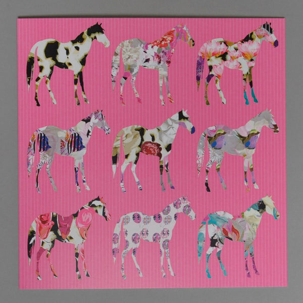 Floral Horses Greetings Card