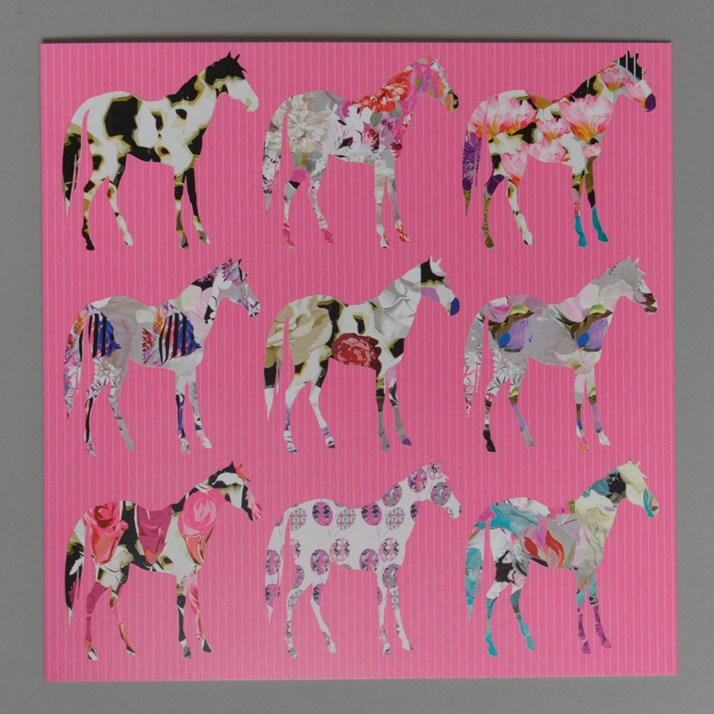 Pink Floral Horses Greetings Card