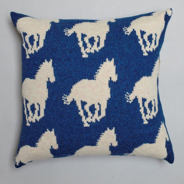 Navy Lambswool Horse Cushion