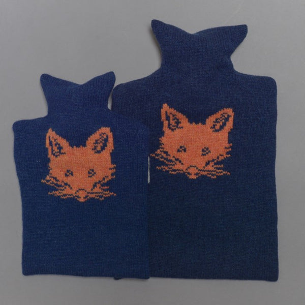Navy Knitted Lambswool Fox Hot Water Bottle