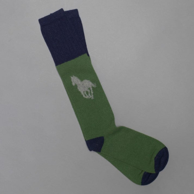 Men's Long Emerald Lambswool Horse Socks