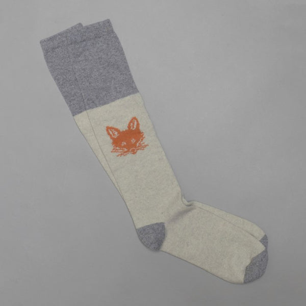 Men's Long Lambswool Fox Socks Grey