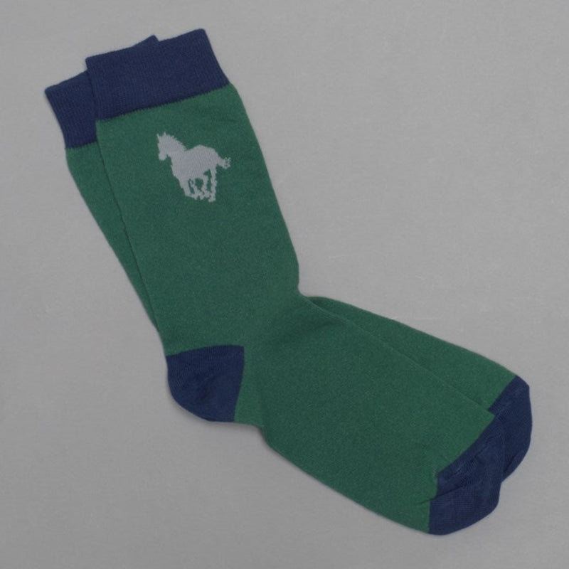 Men's Emerald Green Cotton Horse Socks