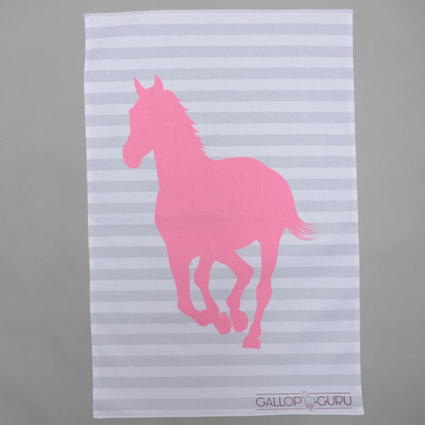 Grey and white striped tea towel with pink horse image
