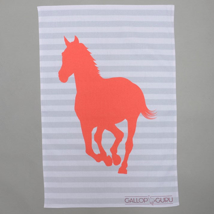 Grey and white striped tea towel with red galloping horse image