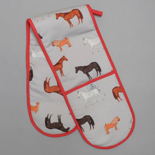 Grey Horses Print Oven Gloves with red trim