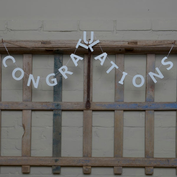 White Wooden 'Congratulations' Garland