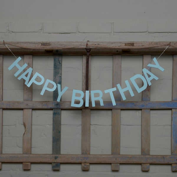 Blue Wooden 'Happy Birthday' Garland