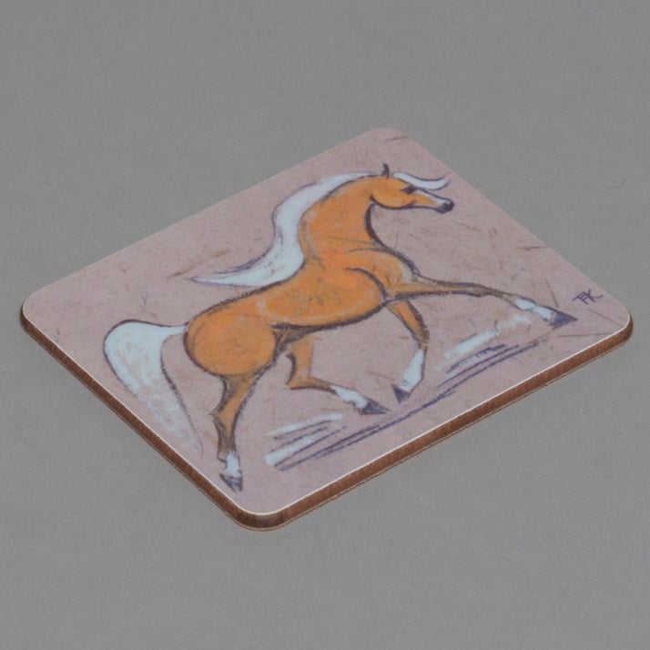 Wooden backed Palomino Horse Drinks Coaster