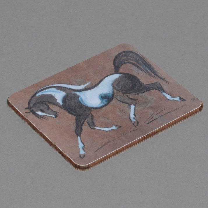 Wooden backed Piebald Horse Drinks Coaster