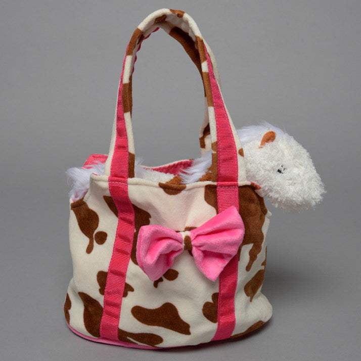 Furry Horse Print Childs handbag with horse cuddly toy inside. Pink furry bow on front