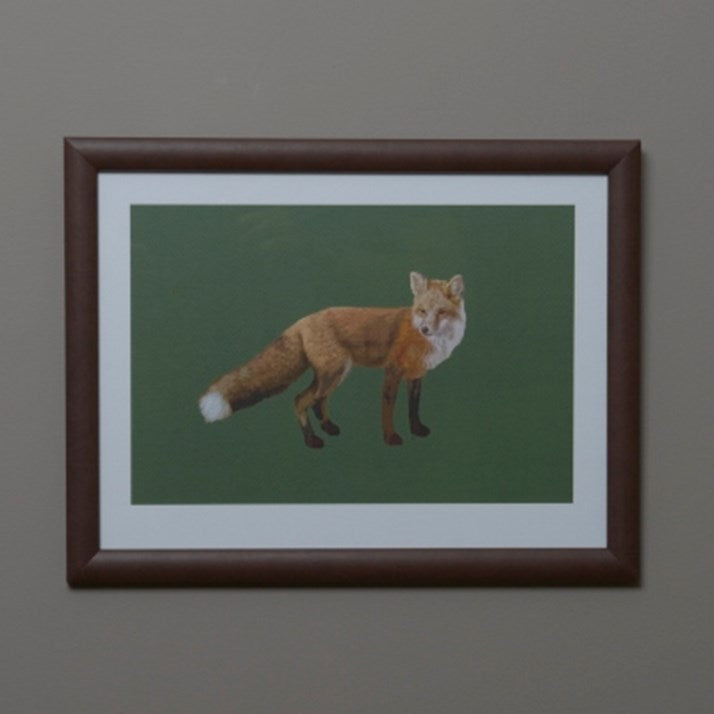 Tartan Fox Print Green in brown wooden frame