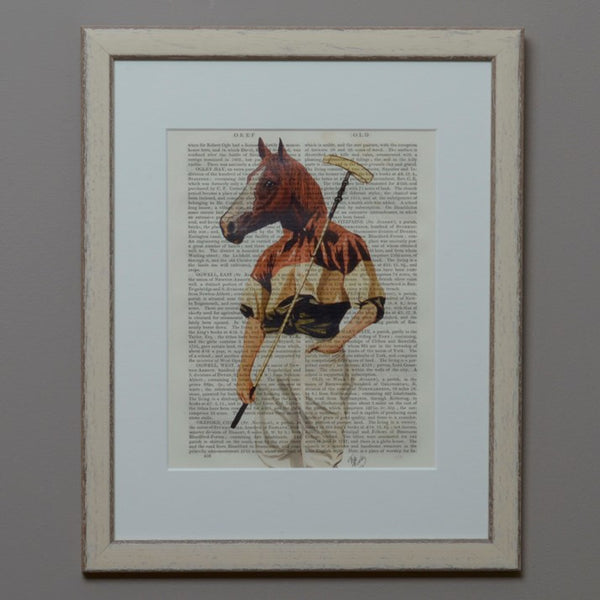 Polo Horse Portrait Vintage Book Print in a cream frame