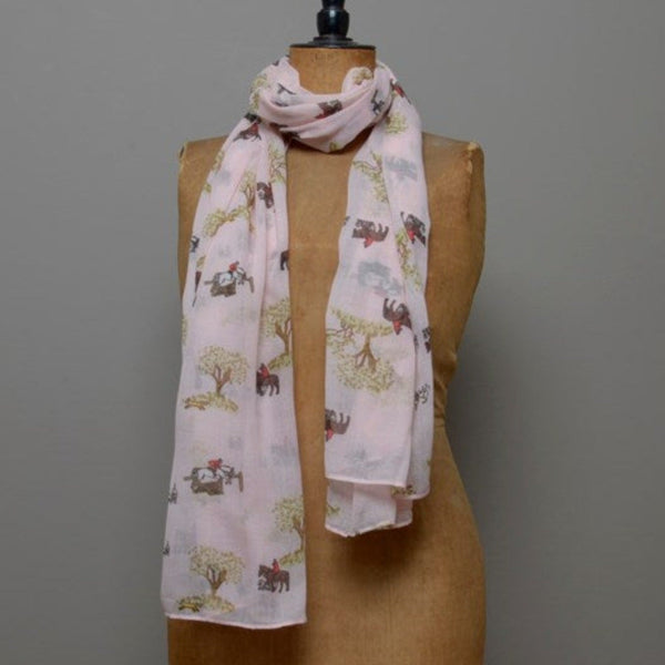 Pale Pink Hunting Scene Scarf on mannequin