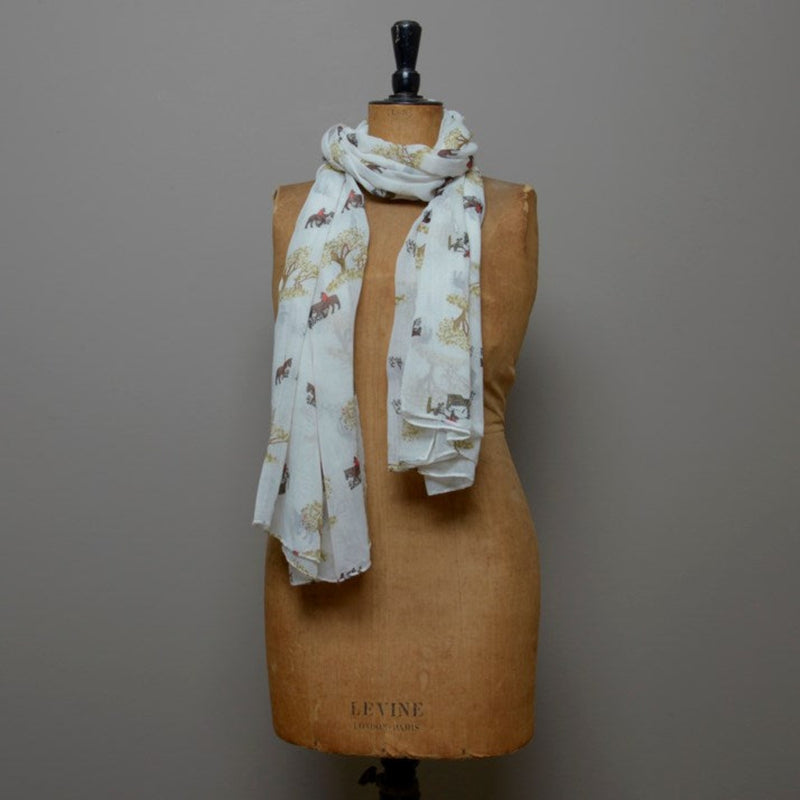 Cream Hunting Scene Scarf