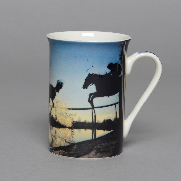 Race Horses Water Jump Bone China Mug