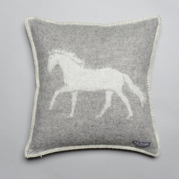 Pure New Wool Grey Horse Cushion