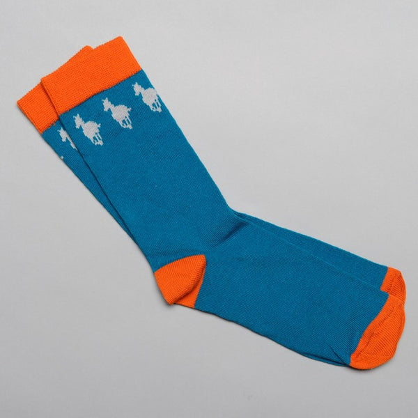 Petrol Blue Cotton Kids' Horse Socks with orange toe, heel and ankle sections and grey galloping horses around the ankle