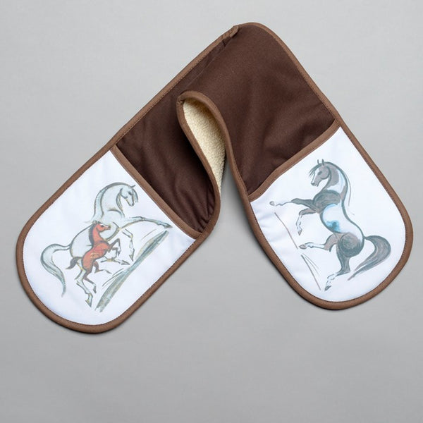 Brown Linen Blend Horse Oven Gloves