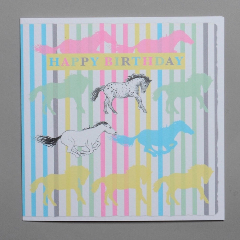 Happy Birthday Pastel Horses Striped Greeting Card