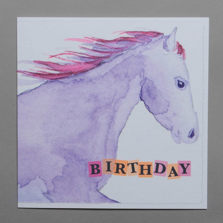 Watercolour Mauve Horse Birthday Card