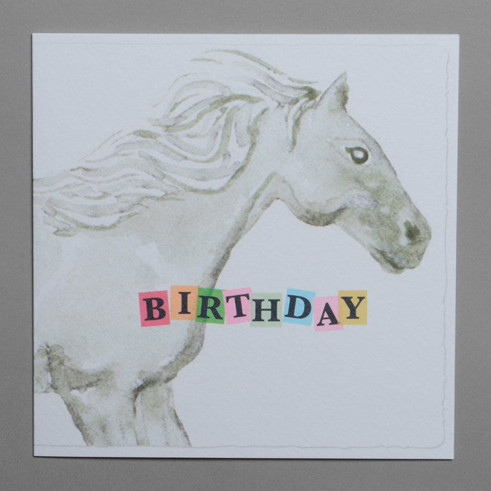 Grey Watercolour Horse Birthday Card