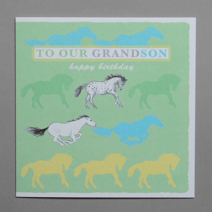Happy Birthday Grandson Horses Greeting Card