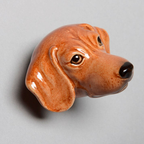 Brown Hound Head Porcelain Doorknob