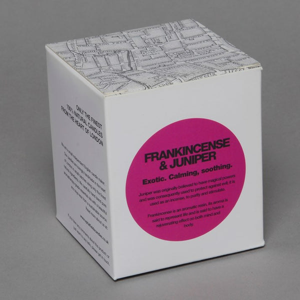 Frankincense & Juniper Spitfields Candle in a white box