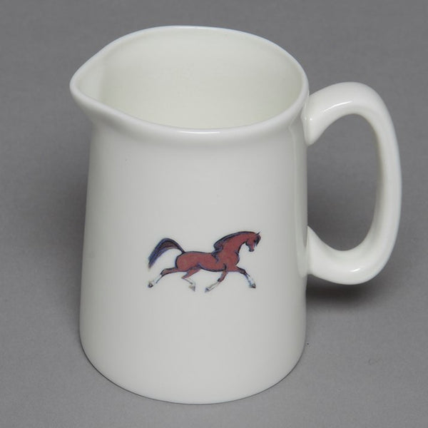 White Small Bone China Horse Jug