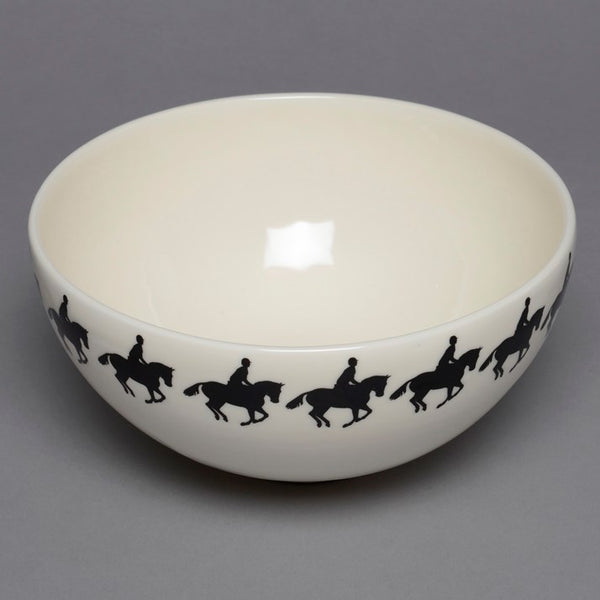 Cross Country Horse and Rider Hand-Painted Large Ceramic Bowl