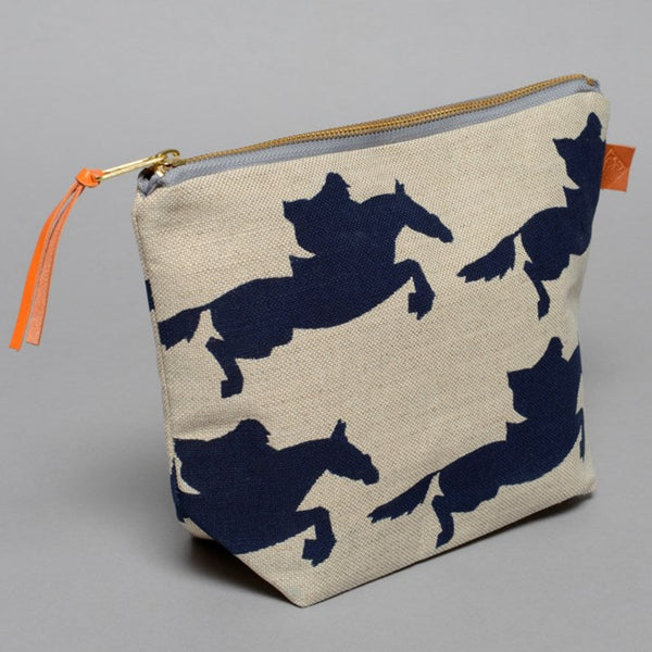 Natural Linen Jump Horse Rider Wash Bag