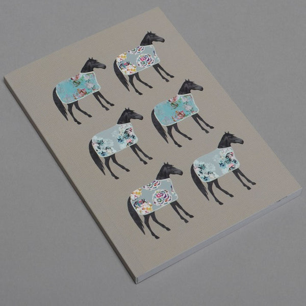 Grey Notebook with 6 horses in floral blankets on the cover