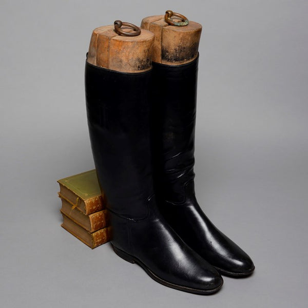 Vintage Black Leather Ladies' Riding Boots and Wooden Lasts