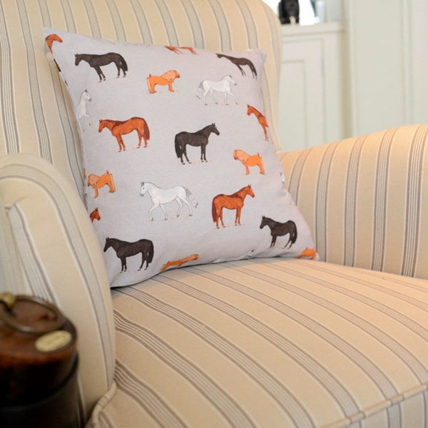 Grey Horses Print Cushion