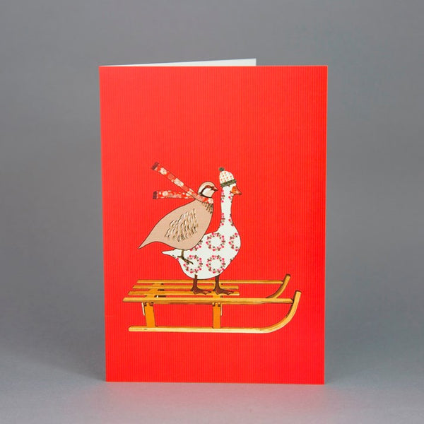 Goose & Partridge Sledging Christmas Card Pack