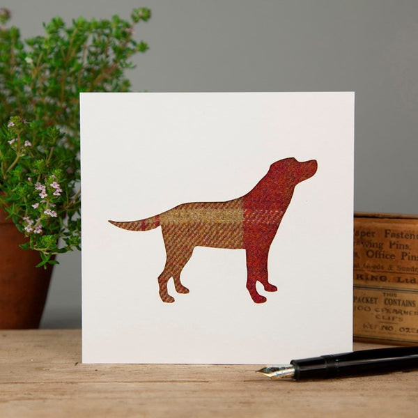 Red Tartan Labrador Greeting Card