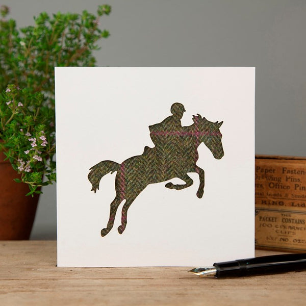 Olive/Pink Tweed Showjumping Greeting Card